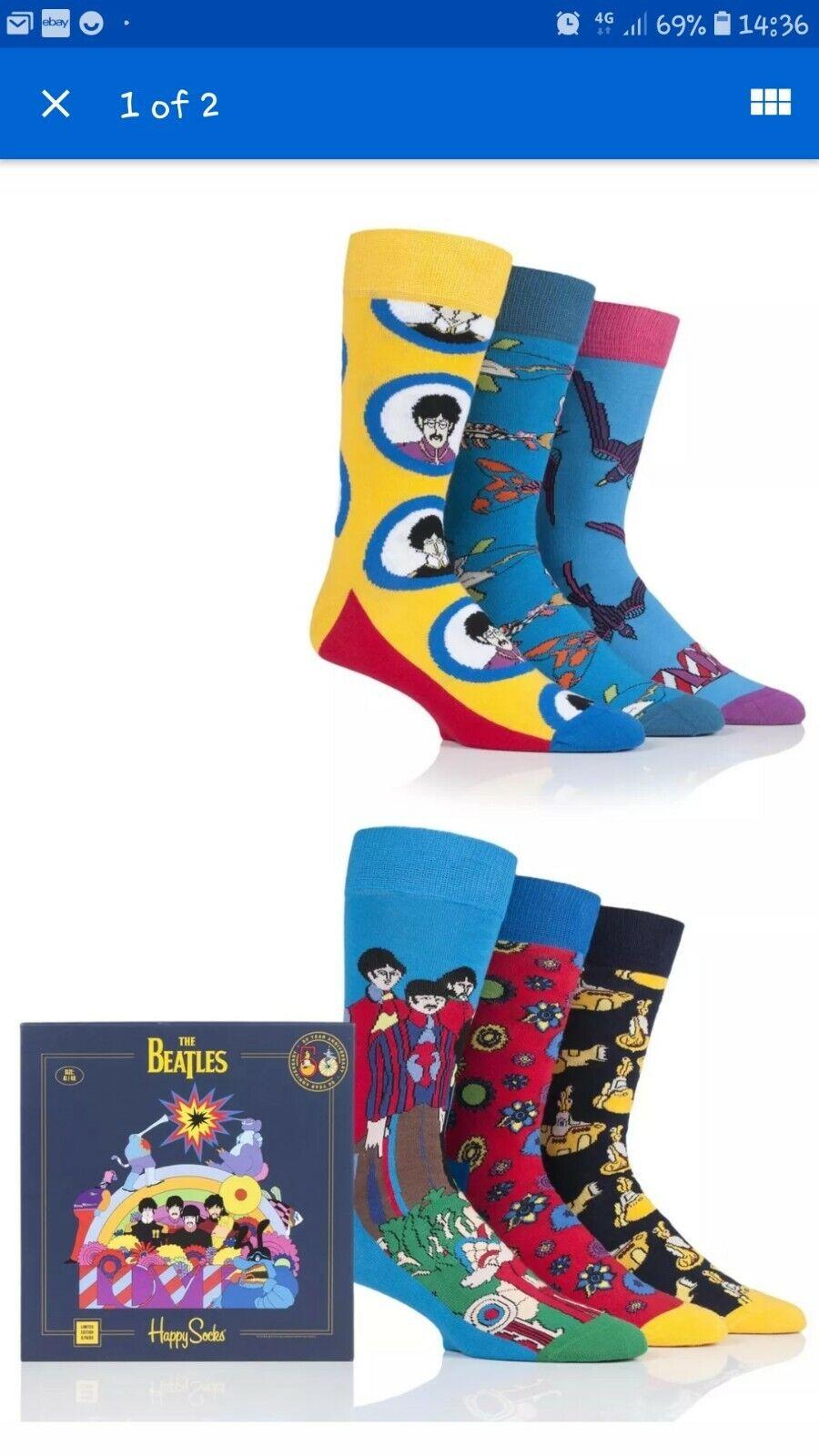 Happy Socks The Beatles Rétro Collectors Box UK 4-7 Unisexe Chaussettes Cadeau de Noël Lot de 6