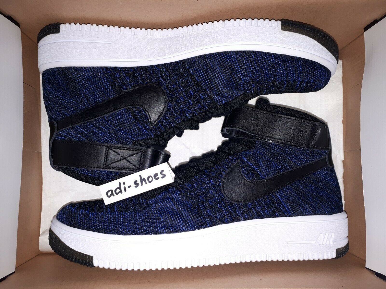 Nike Af1 Ultra Flyknit Mid Air Force 1 Navy Black Mens Casual Shoes 817420 400 UK 7.5