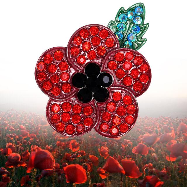 Women Red Poppy Brooch Pin Crystal Badge Broach Poppies Green Leaf Decor TA09
