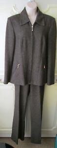 Wallis-Women-039-s-Brown-Grey-Tweed-Smart-Trouser-Suit-Jacket-12-Trousers-10