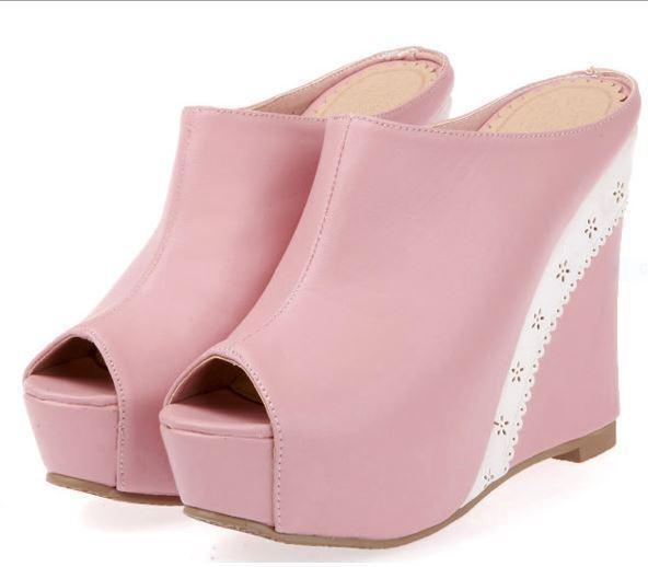 Scarpe ciabatte sabot sandali zeppa plateau 13.5 cm rosa comodi eleganti 9298
