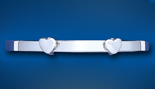 Child's Solid Silver Bangle 7 - 13 years Heart Design Expandable