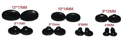 24 Pcs Flat Black Plastic Safety Eyes/Noses For Teddy Bears/Toys,+Washers 6-17mm
