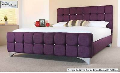 Nevada Bed Frame Upholstered Linen All Colours & Sizes Diamante Buttons Sale