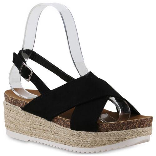 Damen Plateau Sandaletten Keilabsatz Sandalen Korkoptik Wedges 830868 Schuhe
