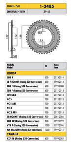 1-3485-CORONA-PASSO-520-per-HONDA-CB-F-HORNET-Racing-520-Conversion-600-2001