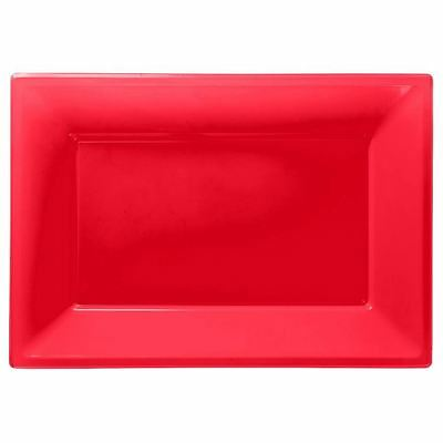 3 Red Colour Plastic Serving Platters Tray 33cm x 23cm Buffet Party Tableware