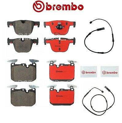 For BMW F30 335i 328i Front and Rear Disc Brake Pads Set and Sensors Brembo KIT