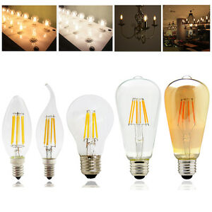 Vintage-Dimmable-E14-E27-2W-4W-6W-8W-LED-Filament-Light-Candle-Globe-Bulb-White