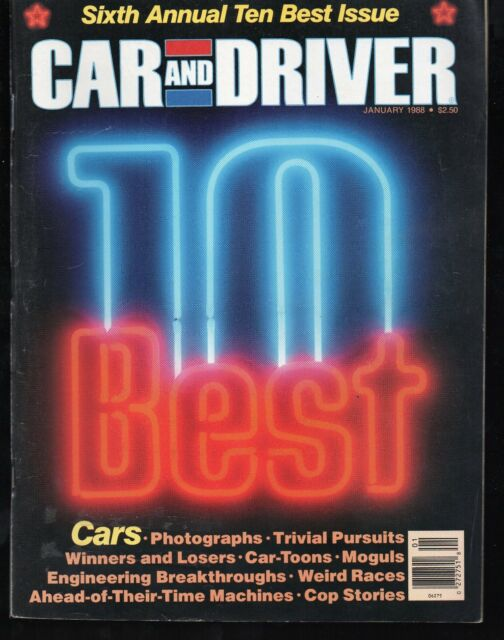 Car and Driver January 1988 10 Best Cars Acura, Audi, Corvette, Mustang, Honda