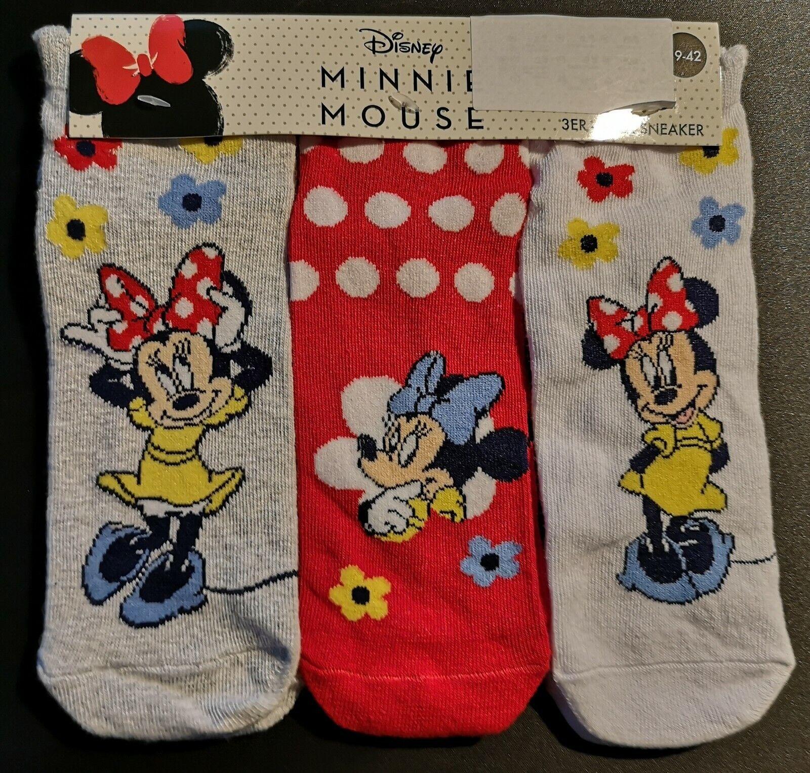 3 Paar Disney MINNIE MAUS Damen Sneaker Socken Strümpfe Größe 39 - 42 NEU & OVP