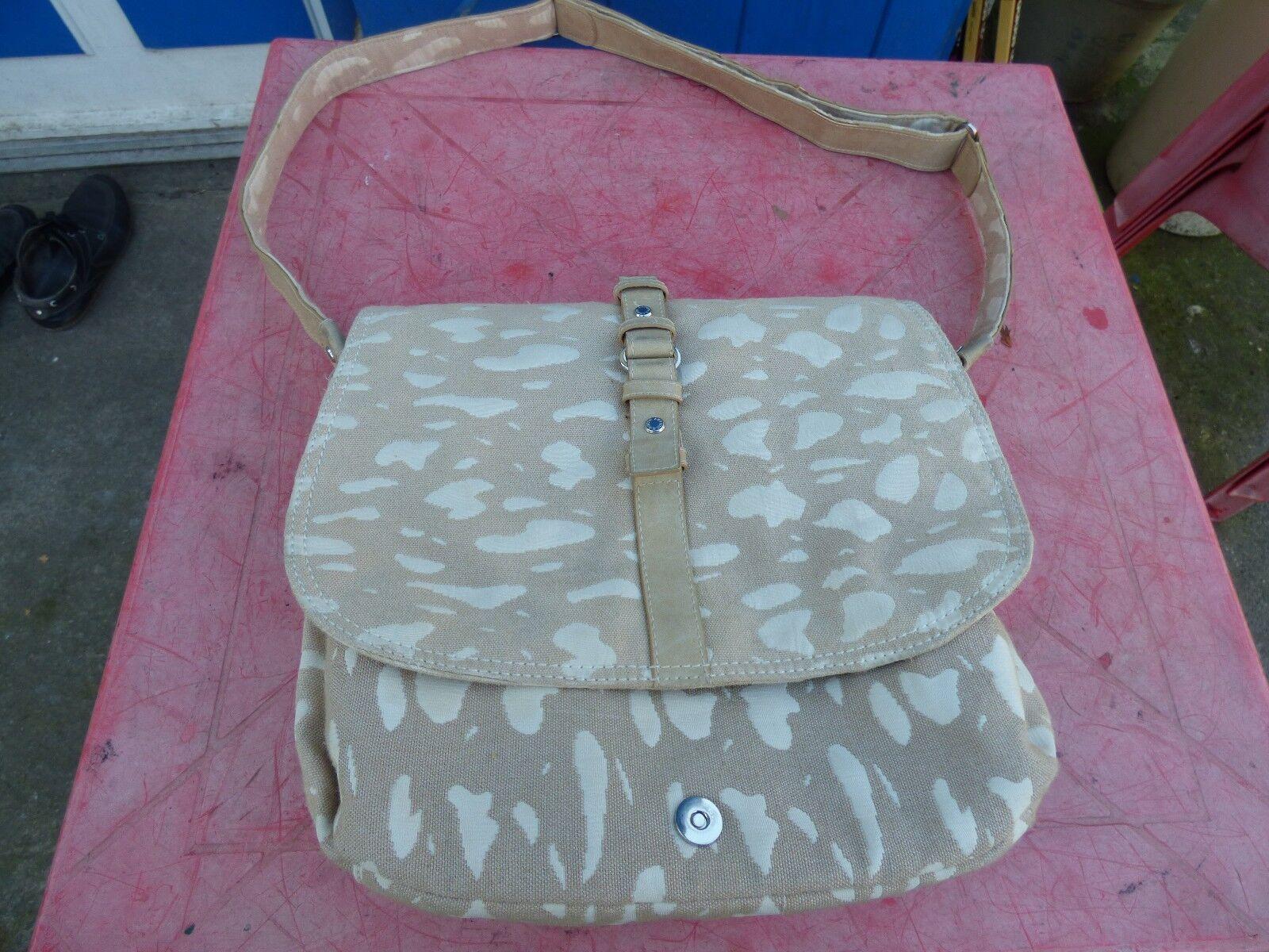 Arthur & Aston Handbag Satchel Canvas Beige Worn Shoulder Strap
