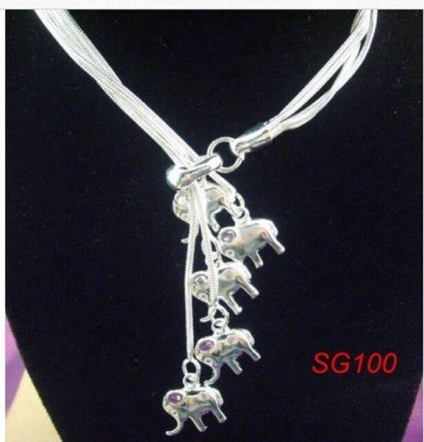"19"" Chic Elephant Pendant Women Necklace Elegant 925 Silver Fashion Jewelry Gift"