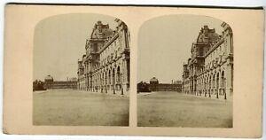 PHOTO-STEREO-Colonnade-du-Louvre-Paris-Lecocq-Frene-vintage-Albumine-c-1860