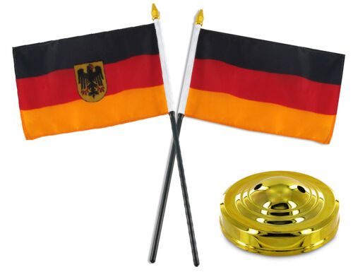 """German Germany w// Bundeswehr Eagle Flag 4/""""x6/"""" Desk Set Table Stick Gold Base"""