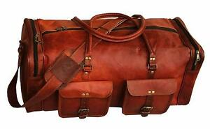 Men-039-s-Adult-Perfect-Leather-Gym-Duffel-Bag-Travel-Weekender-Overnight-Luggage