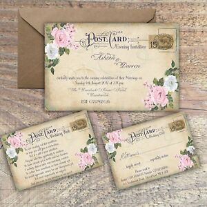 Personalised vintage postcard pink grey floral wedding invitations image is loading personalised vintage postcard pink amp grey floral wedding filmwisefo