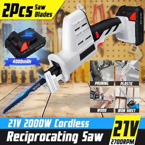 21V-Cordless-Reciprocating-Saw-Metal-Wood-4000mAh-Battery-Charger-W-2-Blades