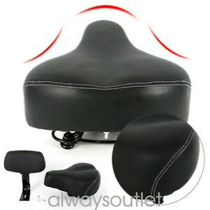 PU-Universal-Bicycle-Saddle-w-Back-Comfortable-Seat-Pad-and-Back-rest-BLACK