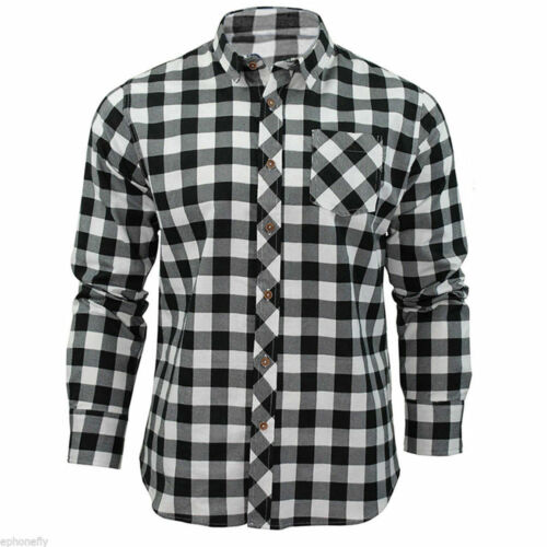 Men/'s Long Sleeve Casual Check Print Cotton Work Flannel Plaid Shirt Top