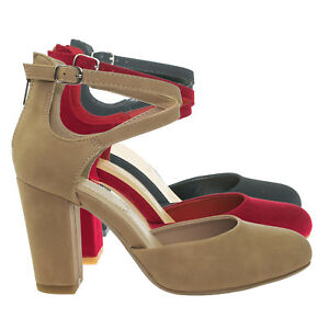 07c95bfe9d460 Details about Anytime Comfort Foam Padded Chunky Block Heel Crisscross  Strap d'Orsay Pump