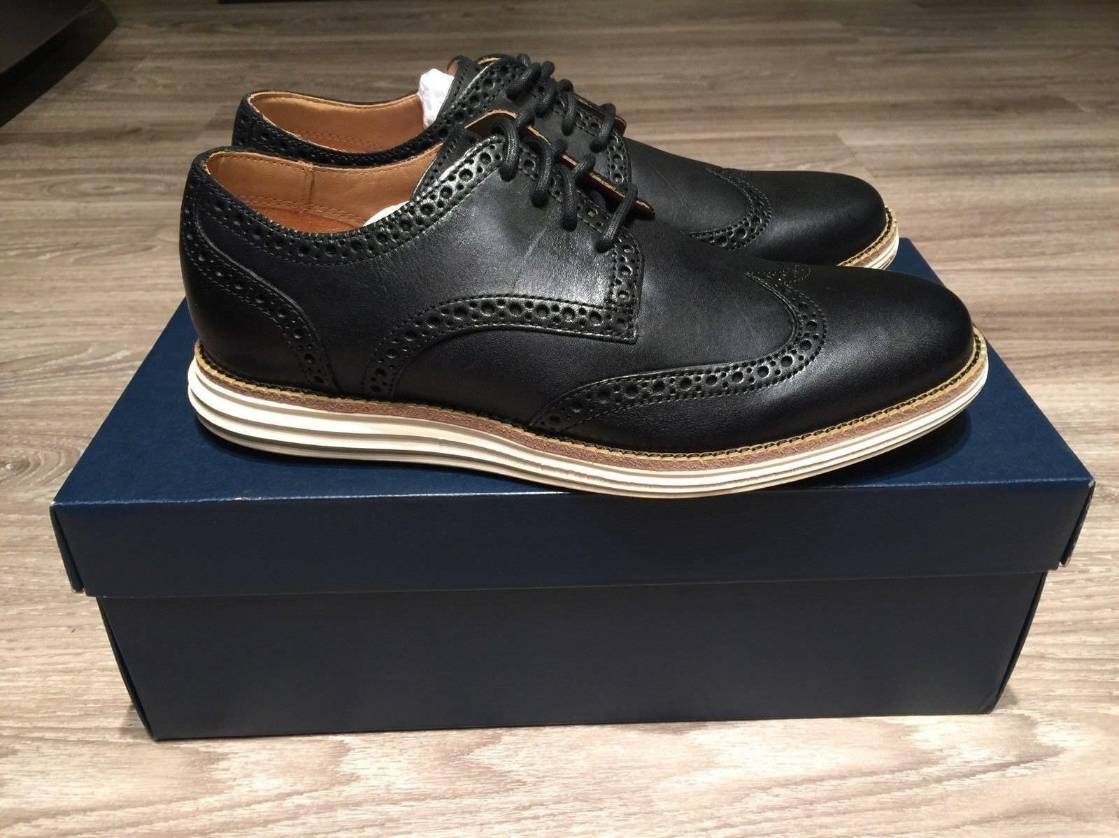 2179b80ccc9d Cole Cole Cole Haan LunarGrand Wing Tip Leather Black Ivory Men s 7 C14110  BRAND NEW 7e6e1d