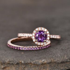 1-6ct-Round-Purple-Amethyst-Halo-Bridal-Set-Engagement-Ring-14k-Rose-Gold-Finish