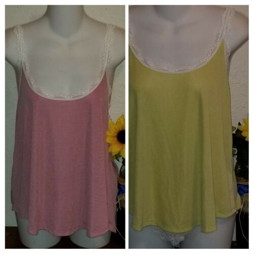 New Victoria Secret Ribbed tank top Night shirt cami loose fit neon green red