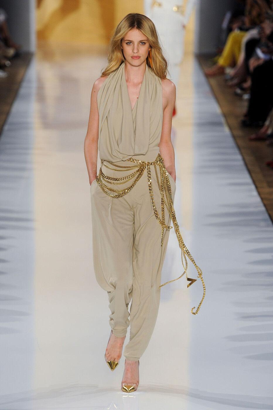 ALEXANDRE VAUTHIER Beige Gold Drape Pants  36 4