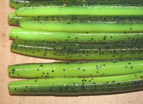 "4/"" Stick Senko Style Watermelon Chartreuse Laminate 100 count bag bulk Worm"