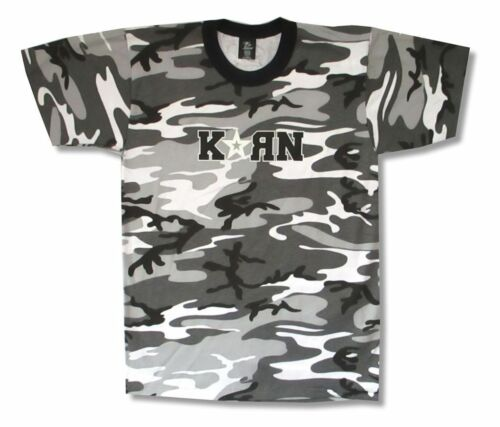 Korn Star Logo Greyscale Urban Camouflage T Shirt New Official Adult