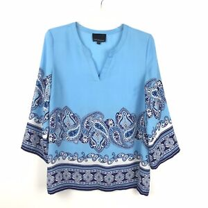 Cynthia-Rowley-Womens-Size-Small-Blue-White-Paisley-Print-Semi-Sheer-Blouse-Top