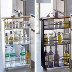 Dettagli su Yamazaki Carrello da Cucina Metallo Slim Torre 3 Piani Supporto  di Legno