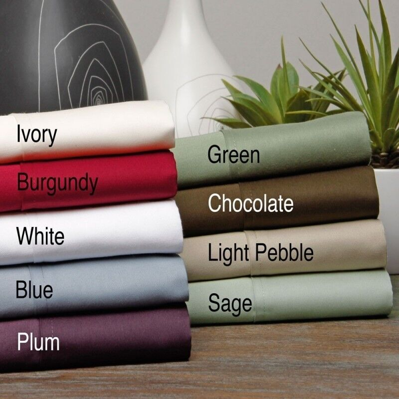 Ultra Soft 3 PCs Fitted Sheet Set 1000 TC Egyptian Cotton Twin Size Solid colors