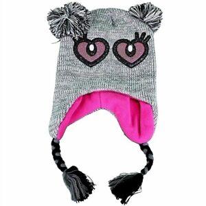 Knit-Fun-Grey-Pink-Critter-Girl-039-s-Scandinavian-Winter-Hat