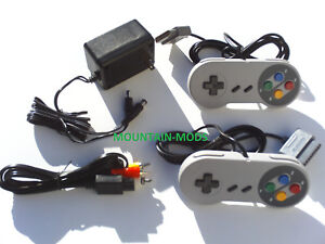 New-2-Controllers-AC-Adapter-Power-Cord-AV-Video-Cables-Fits-Nintendo-SNES