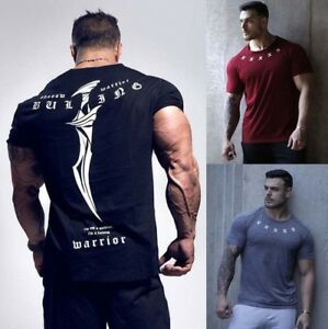 Men-039-s-Gym-Muscle-Bodybuilding-Cotton-Sport-Fit-Fitness-Casual-T-shirt-Tee-Tops