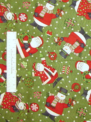 Christmas Snowman Santa Claus Wreath Green - Debbie Mumm Cotton Fabric YARD