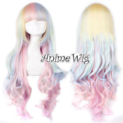 Bunt Lang Gelockt Curly Gewellt Harajuku lolita Haar Wig Perücke Halloween 80cm