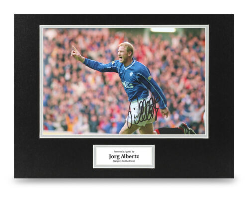 COA Jorg Albertz Signed 16x12 Photo Display Rangers Autograph Memorabilia