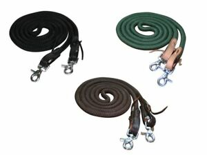 Tahoe-Tack-Horse-Nylon-Barrel-Reins-with-USA-Leather-Ends-5-8-034-X-7-039-3-Colors