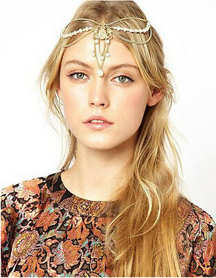 Boho Tassel Metal Crystal Women Head Chain Jewelry Headband Head Piece Hair Band