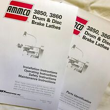 Ammco Operating Maintenance Amp Parts Manuals 3850 3860 Drum Amp Disc Brake Lathes