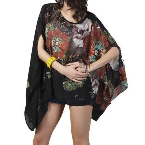 Blogger Blumen Blumen Bluse Tunika Top Chiffon Oversize Boho Bohemia Neu