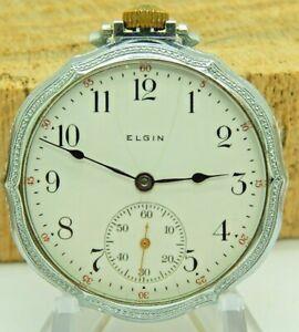 Serviced Antique Pocket watch Stunning Art Deco 12 size 7 jewel Elgin GR 303