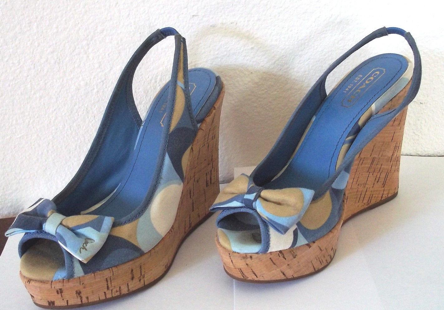 Gorgeous Coach women's fashion summer wedge platform sandal w/bow shoes Size 5!