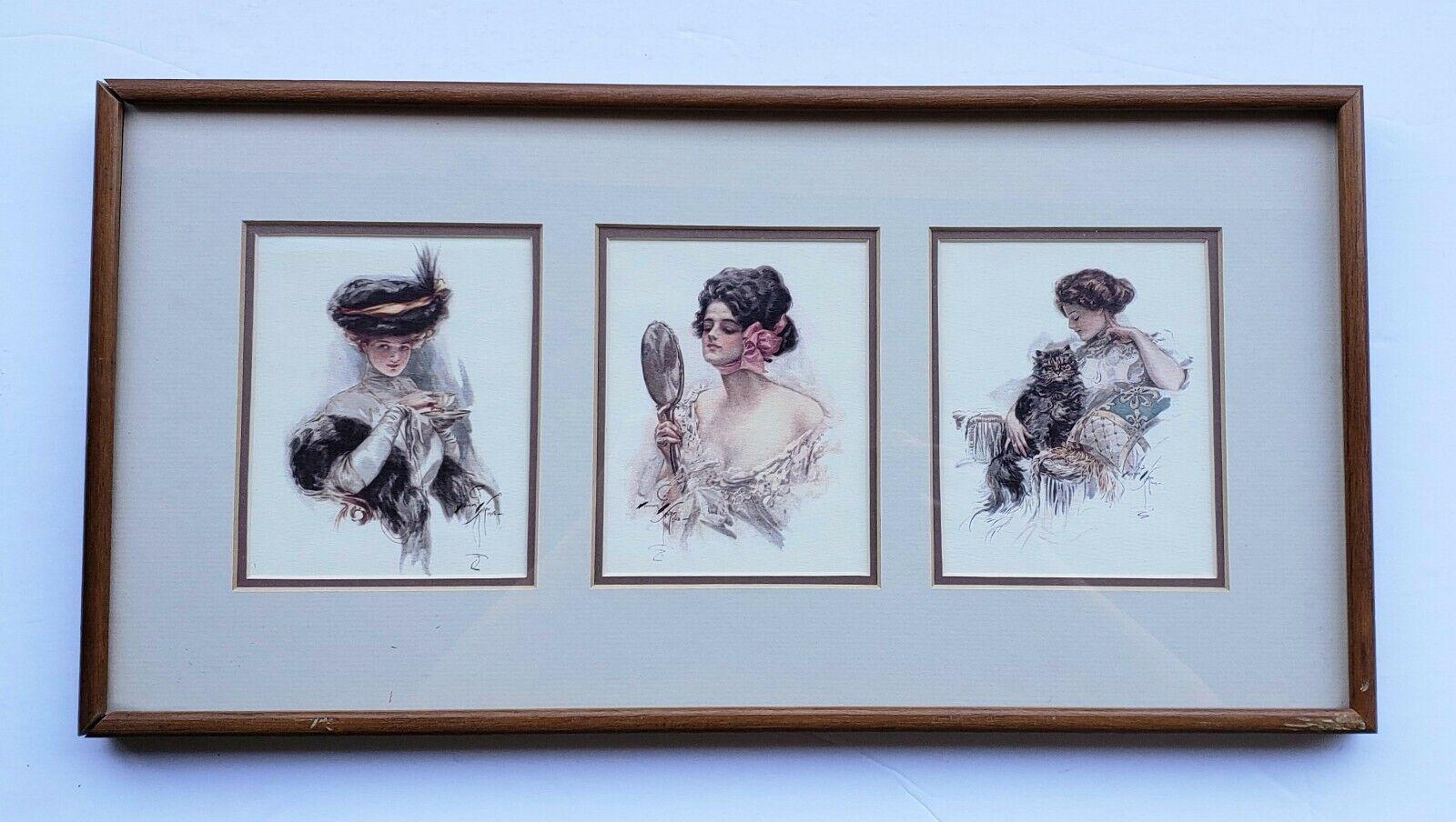 VINTAGE 1977 FRAMED HARRISON FISHER EDWARDIAN PRINTS (FISHER GIRLS) WALL ART on eBay thumbnail