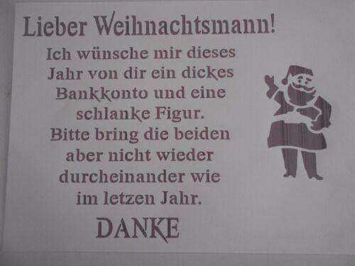 """Schablone /"""" Lieber Weihnachtsmann/"""" auf A4"""