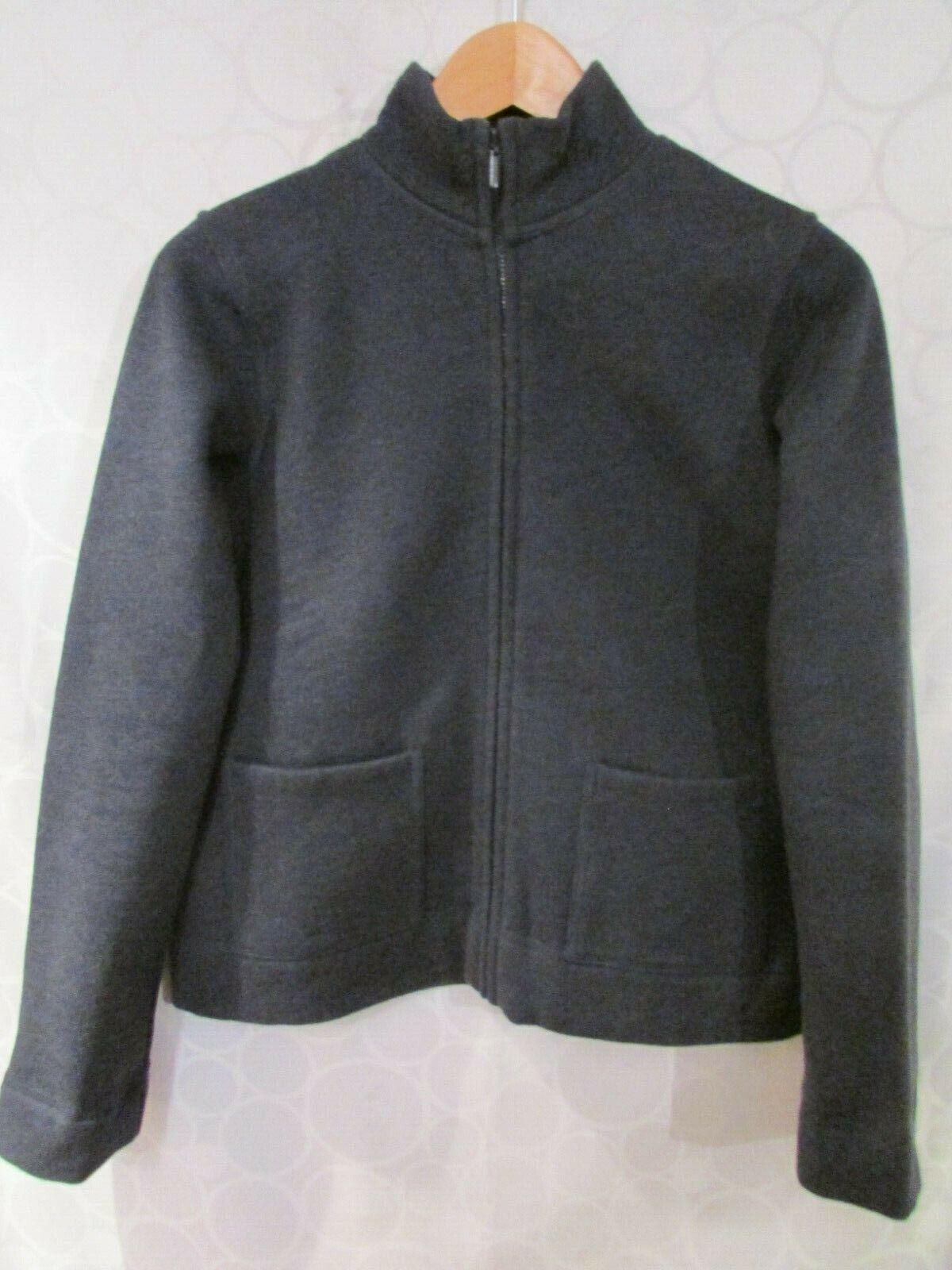 EILEEN FISHER bluee Cotton Blend Full Zip Fleece Cardigan Sweater Size PP
