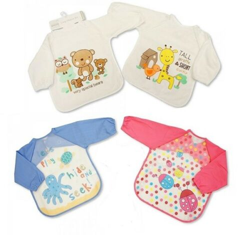 Baby Babies Girls Boys Fastening Bibs Plastic Back Long Sleeves Cover All Bib